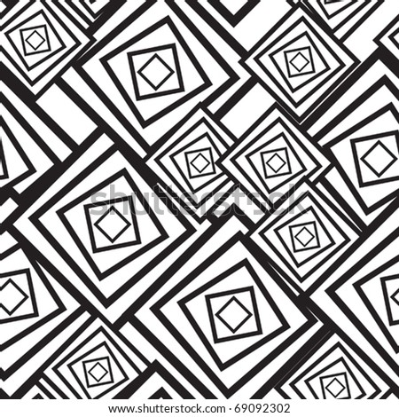Black-and-white abstract background with squares. Seamless pattern. Vector illustration.