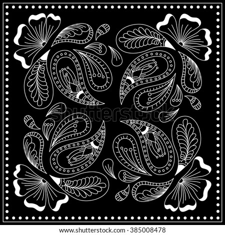 Black And White Rug Patterns. Black And White Abstract Bandana Print With  Element Henna Style