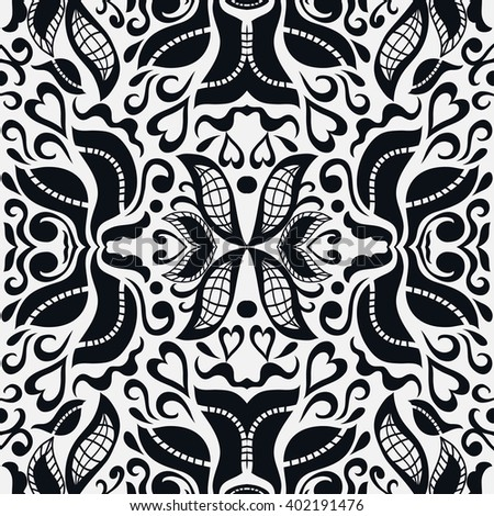 Black and white abstract fantasy graphic background, seamless floral geometric pattern. Hand drawn fabric texture. Tribal ethnic arabic, indian, ottoman ornament, doodle vector illustration.  - stock vector