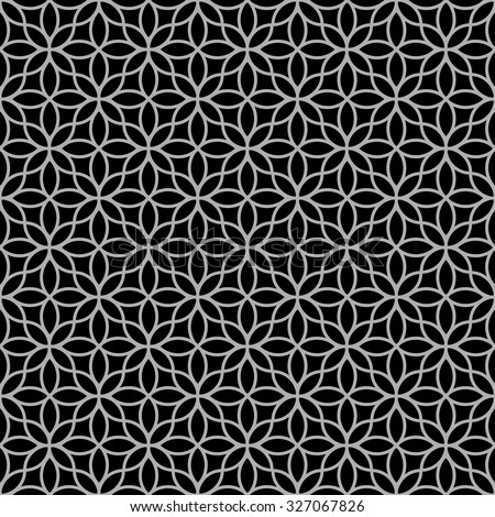 Black-and-white abstract floral seamless pattern. Vector background