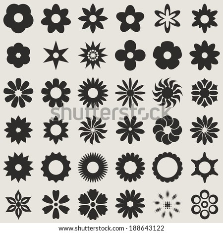 Black and white abstract flower bud shapes vector set.  Set 1. - stock vector