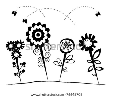 Black and white abstract flower design - stock vector