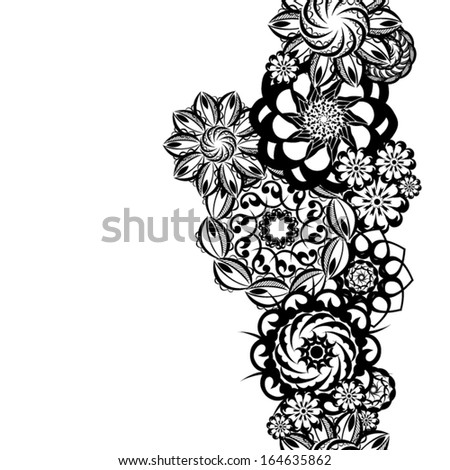 Black and white abstract flowers. Seamless ornamental band. Vector - stock vector