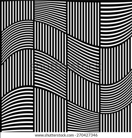 Black and white abstract grid, grating pattern with wavy distortion effect. Liny pattern - stock vector