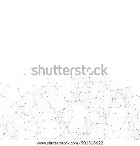 Black and White Abstract Polygonal Space | White Background with Black Connecting Dots and Lines | Futuristic Vector Illustration
