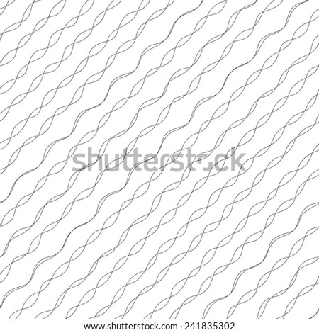 black and white abstract striped wavy seamless pattern - stock vector