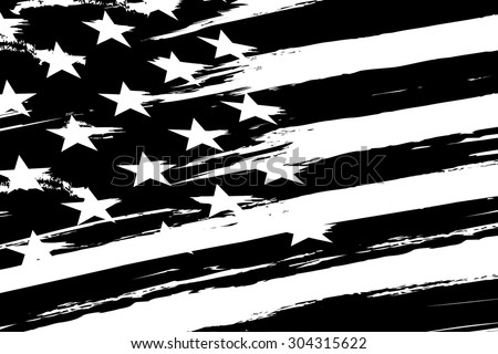 black and white american flag. vector - stock vector