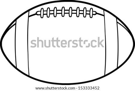 Black And White American Football Ball Cartoon Illustration - stock vector