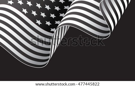 Black and white American waving flag isolated on dark background vector illustration