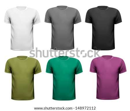 Black and white and color men polo shirts. Design template. Vector illustration  - stock vector