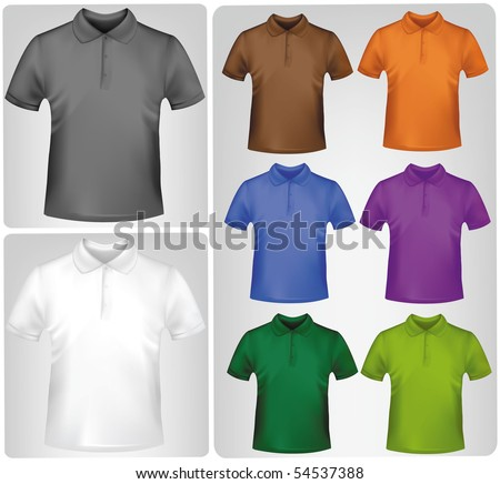 Black and white and colored shirts. Photo-realistic vector illustration. - stock vector