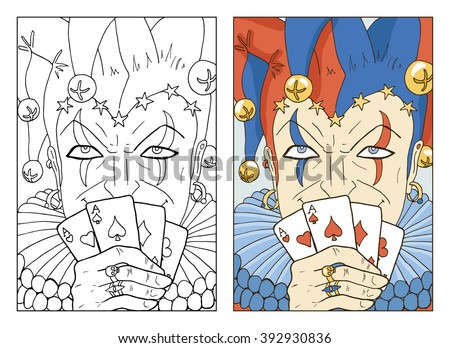 Black and white and colorful Joker. Line art hand drawn vector illustration and sketch. Graphic portrait of Fool with playing cards in border. Doodle drawing with text. Coloring book page.  - stock vector