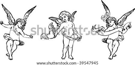 Black And White Angels Trio. Vector Illustration. - stock vector
