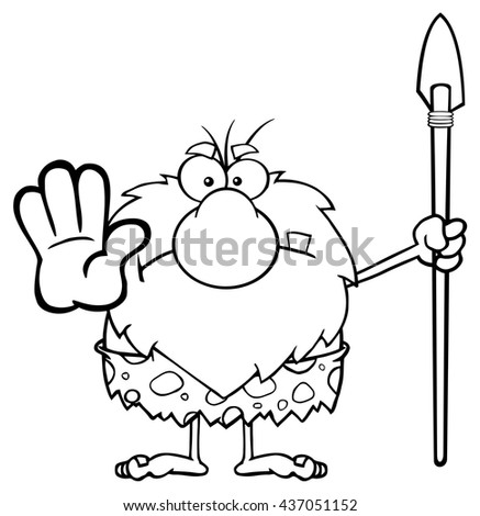 Black And White Angry Male Caveman Warrior Cartoon Mascot Character Gesturing And Standing With A Spear. Vector Illustration Isolated On White Background - stock vector
