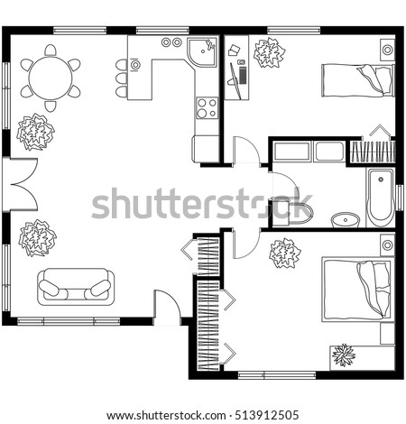 Black white architectural plan house layout stock vector for Apartment meal plans bu