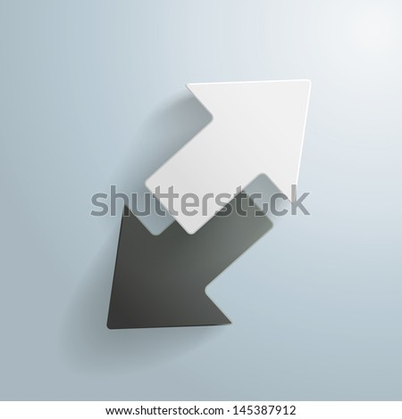 Black and White arrows on the grey background. Eps 10 vector file. - stock vector