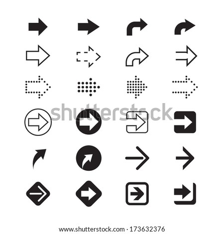 black and white arrows signs - stock vector