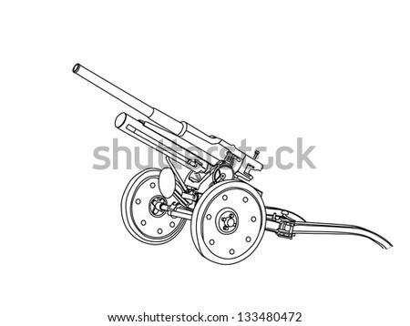 black and white artillery cannon 47mm - stock vector