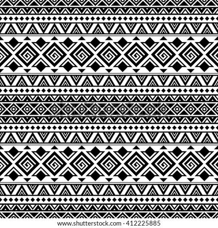 Black White Aztec Seam... Black And White Tribal Print Wallpaper
