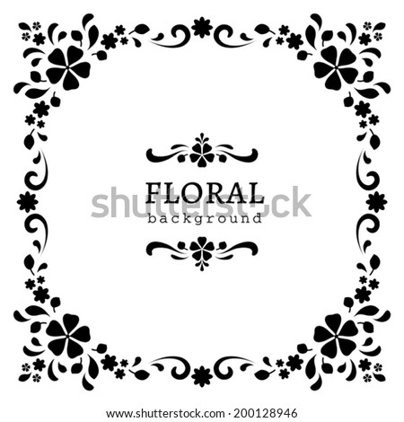 Black and white background, ornamental square vector frame, abstract floral decor - stock vector