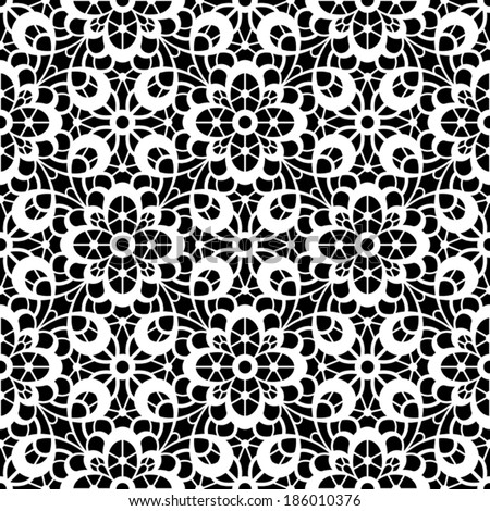 Black and white background, vector lace texture, lacy seamless pattern - stock vector