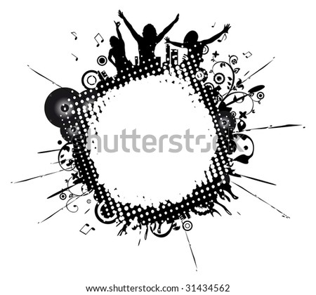 Black-and-white background with a place for the text - stock vector