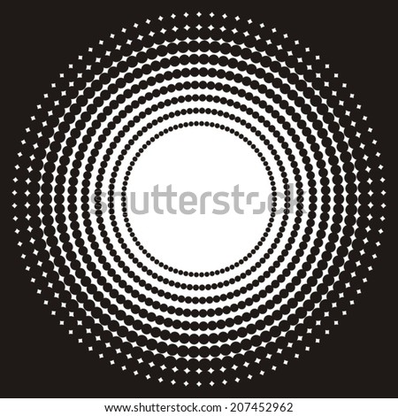 Black and white background with circle halftone effect - stock vector