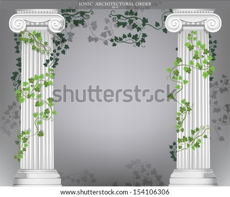 Black and white background with two Ionic columns entwined with ivy - stock vector