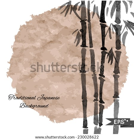 Black and white bamboo vector background in traditional style. - stock vector