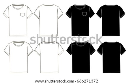 Black White Basic Unisex Tshirts Template Stock Vector - Pocket t shirt template