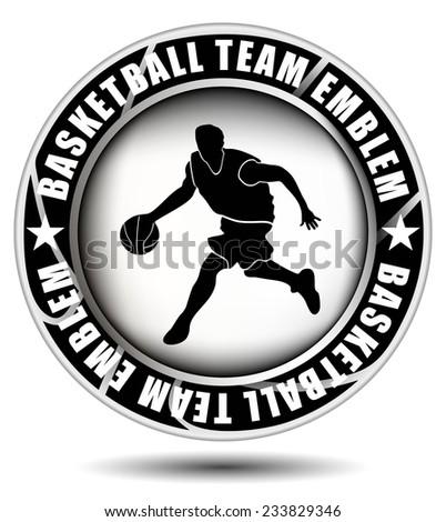 Black and white basketball team emblem. Vector illustration - stock vector