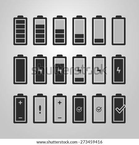 Black and White Battery Icon Set Designs - stock vector