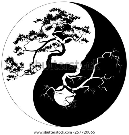 Black and white Bonsai tree on the Yin Yang symbol
