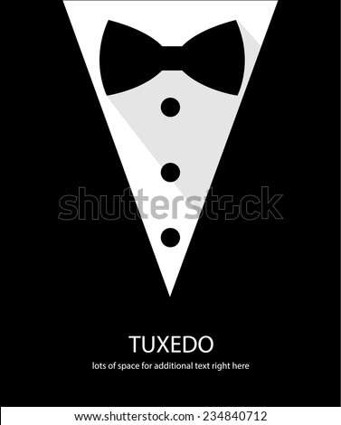 Black and white bow tie tuxedo illustration flat long shadow - stock vector