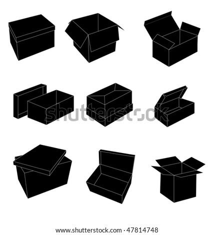 black and white boxes - stock vector
