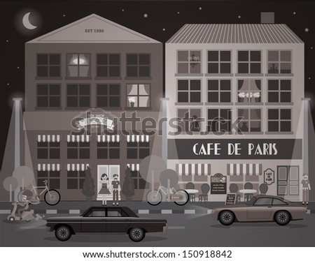 black and white buildings/cafe/shops vector/illustration - stock vector