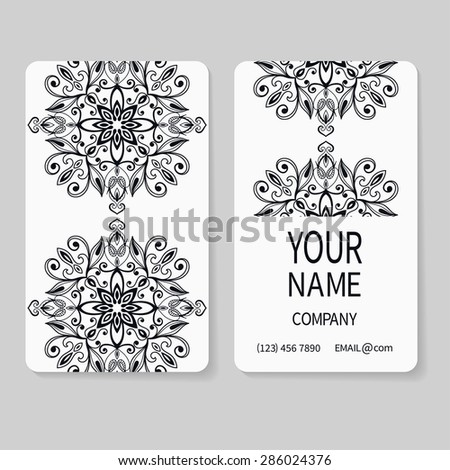 Black and white business card, decorative ornamental invitation collection. Hand drawn Islam, Arabic, Indian, lace pattern - stock vector
