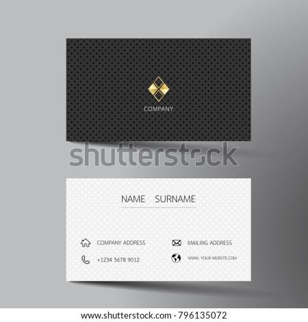 Black White Business Card Template Design Stock Vector - White business card template