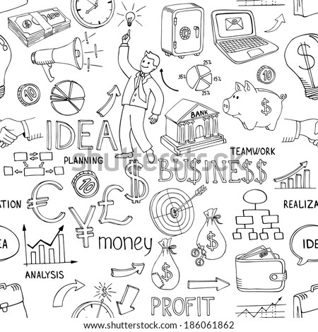 Black and white business doodles seamless pattern with a variety of icons depicting money  analysis  charts  ideas and strategy scattered in a random vector design - stock vector
