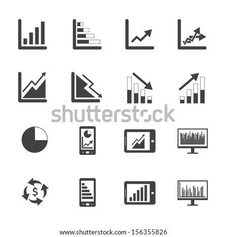 Black and White Business Graph icon set - stock vector