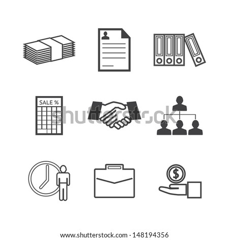 Black and white Business icons set.Vector EPS10 - stock vector