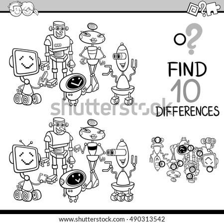 Black and White Cartoon Illustration of Finding Differences Educational Activity for Children with Robots Fantasy Characters Coloring Book