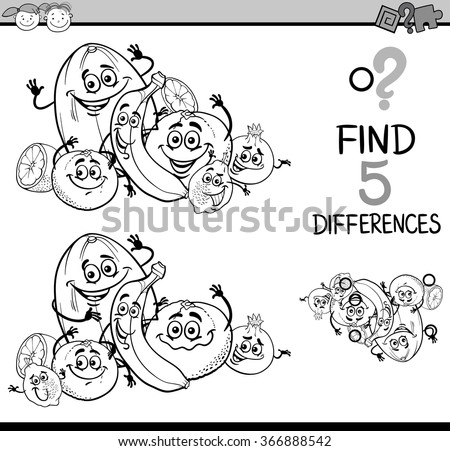 Black and White Cartoon Illustration of Finding Differences Educational Task for Preschool Children with Citrus Fruit Characters for Coloring Book - stock vector