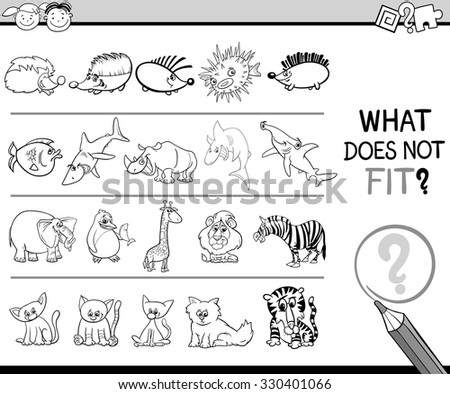 Black and White Cartoon Illustration of Finding Improper Item in the Row Educational Game for Preschool Children with Animal Characters - stock vector