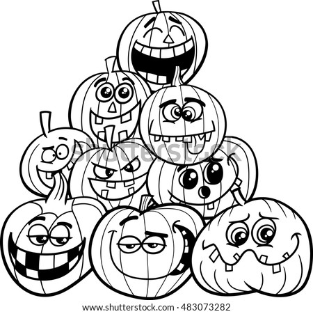 Black and White Cartoon Illustration of Halloween Pumpkins or Jack Lanterns Group in the Heap Coloring Book
