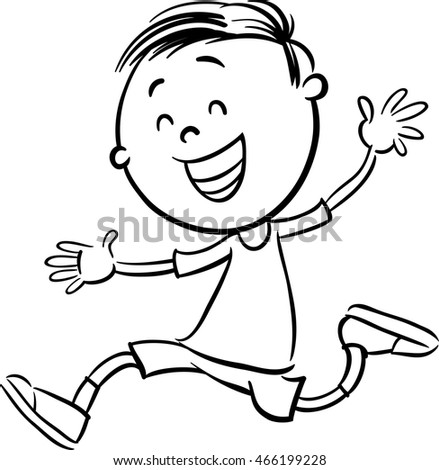 Black And White Cartoon Illustration Of Happy Preschool Or Elementary School Age Boy Coloring Book