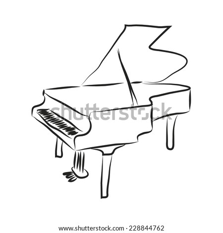 Grand Piano Cartoon Black And White Black And White Cartoon Piano