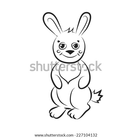 Black and white cartoon rabbit.