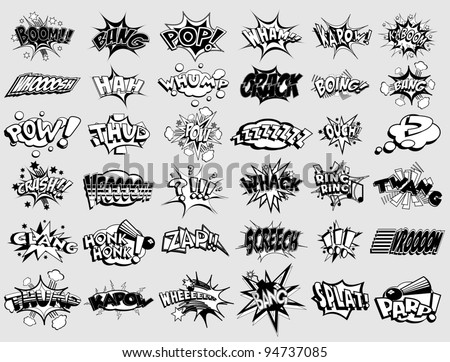 Black and white cartoon text captions. explosions and noises - stock vector