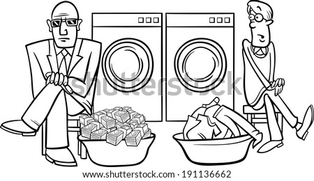 Black and White Cartoon Vector Humor Concept Illustration of Money Laundering Saying or Proverb Coloring Book - stock vector